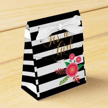 Elegant Black and White Stripes With Pink Floral Favor Boxes