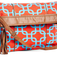 Foldover Bag, Coral/AquaQUEEN LANE DESIGNS