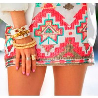 Coral Sequin Skirt