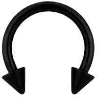 """16g 5/16"""" Septum Spiked Horseshoe Ring, Black Titanium IP Plated Over Surgical Steel, 3 mm Spikes"""