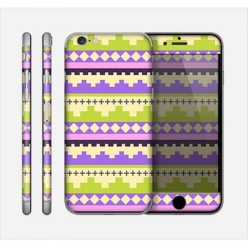 The Purple & Green Tribal Ethic Geometric Pattern Skin for the Apple iPhone 6