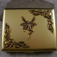 Steampunk Brass Victorian Fairy Cigarette Case Cigarette Holder