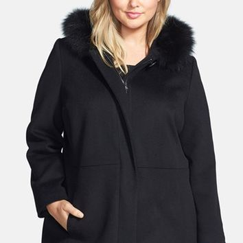 Plus Size Women's Sachi Genuine Fox Fur Trim Hooded Wool Blend