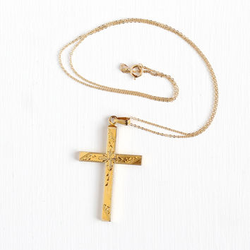 Vintage 12k Yellow Gold Filled Cross Necklace - Retro 1950s Engraved Flower Design Large Religous Jewelry Charm Signed HFB on 14K GF Chain