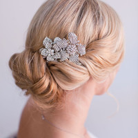 Yasmine,  Double Flower Rhinestone Brooch Comb, Bridal Hair Comb, Wedding Hair Accessory, Hair Adornment