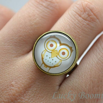 Owl Ring - stick figure baby owl Glass Art Ring Picture Ring Art Ring Handcrafted Jewelry R2