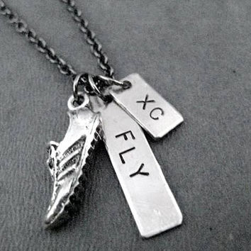 RUN FLY XC Cross Country Runner Necklace on Gunmetal Chain - Fly Xc Necklace - Run Fly Cross Country - Run Cross Country Fast and Fly