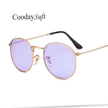 Coodaysuft Women Transparent Sunglasses Round Uv400 Brand Design Clear Pink Vintage Cateye Fashion sun glasses lady Eyewear 2017