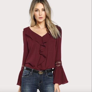 Pleated Sleeve Burgundy Blouse