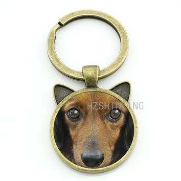 Cool pet dog Dachshund Buddy keychain men women dog lover jewelry vintage Dachshund glass gem animal key chain ring holder CN718