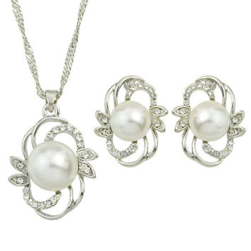 Cut Out Faux Pearl Necklace and Earrings