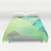 Fragments Cyan Duvet Cover by House of Jennifer