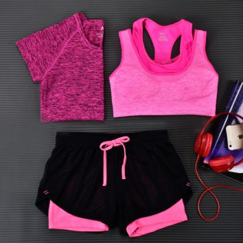 Fashion 3pcs Women's Sports Bras Yoga Fitness Racerback Vest Shorts Set 15