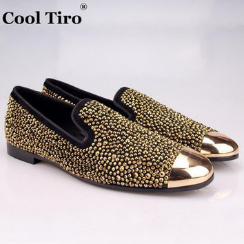COOL TIRO Gold toe Brilliant Gold Handcrafted hot drilling smoking slipper Genuine Leather Loafers