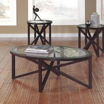 3 pc sleffine collection dark brown finish wood and glass insert oval coffee and round end table set