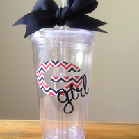 Red & Black Chevron Print Georgia Girl Double Walled Tumbler