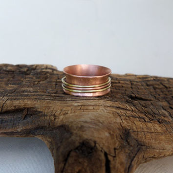 Women's Ring, Women's Spinner Ring, Women's Copper Spinner Ring, Brass Spinner Ring, Copper and Brass Spinner Ring