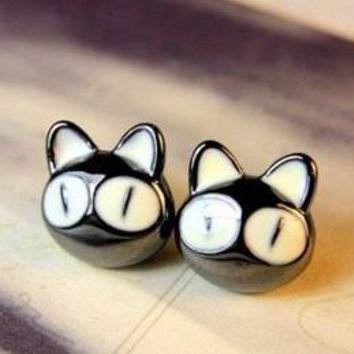 Korean jewelry personalized wild temperament lovely big eyes small cat earrings