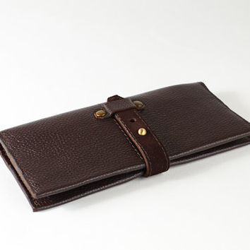 Dark brown leather long wallet for women.