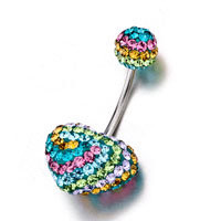 Colorful Birthstone Shining Ball And Heart Belly Navel Rings, Belly Rings, New Year Belly Rings | Pugster.com