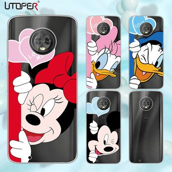 UTOPER Mickey Shell For Moto G6 Case Mouse Silicone Phone Cases For G6 Plus Case Cover For Moto G5 G5 plu G5S G5s Plus  E4 Plus