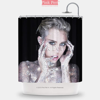 Miley Cyrus Glitter Shower Curtain Free shipping Home & Living Bathroom 166