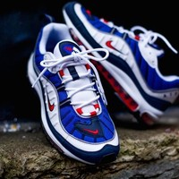 Nike Air Max 98 Retro Running Shoes bLUE WIHTE RED640744-064