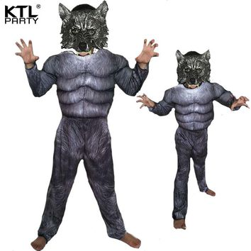 Halloween Cosplay Costumes Wolf costume Suits Children School Performance Clothing Props Muscle Werewolf Clothes Kids Gifts