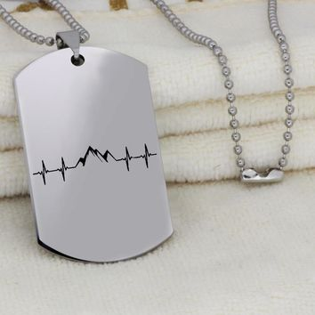 Heartbeat Mountain EMS Awareness Dog Tag Necklace