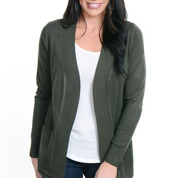 Olive Double Pocket Open Front Cardigan