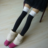 Black lace topped thigh high college girl socks