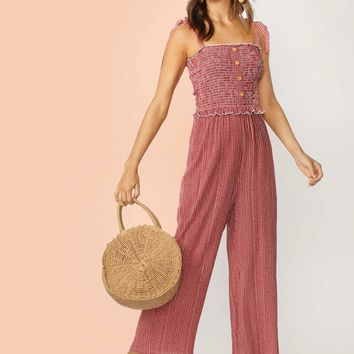 Tie Strap Buttoned Front Shirred Bodice Striped Jumpsuit