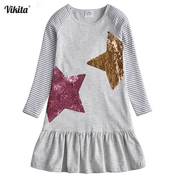 VIKITA Kids Dresses for Girls Costume Long Sleeve Cotton Princess Dress Children Clothes Reversible Sequined Baby Girls Dress