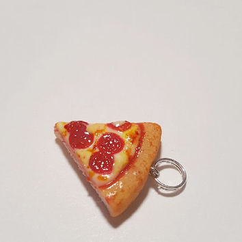 Pepperoni Pizza Charm, Polymer Clay Food Jewelry, Food Accessories