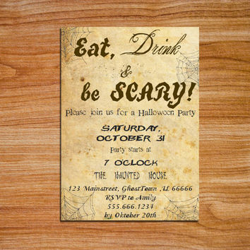 Halloween Party Invitation Eat Drink & Be Scary Vintage Style Printable Halloween Invite dark grey on Aged paper Editable MS Word Doc DIY