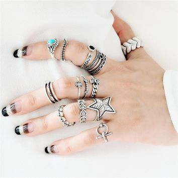 Punk  Knuckle Ring Real 925 Silver Boho Jewelry Vintage Minimalism Joyas Haut Femme Bague Femme Aneis  Rings for Women Anillos