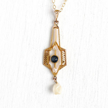 Simulated Sapphire Lavalier - Antique Edwardian Era 10k Rosy Yellow Gold Necklace - Vintage Blue Glass Baroque Pearl Fine Pendant Jewelry
