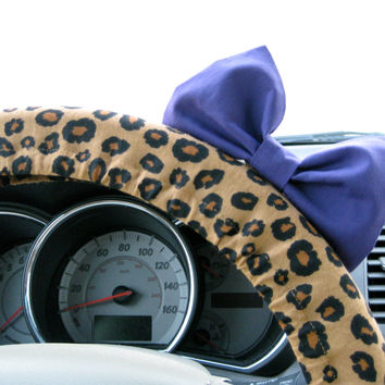 The Original Cheetah Steering Wheel Cover with Matching Purple Bow