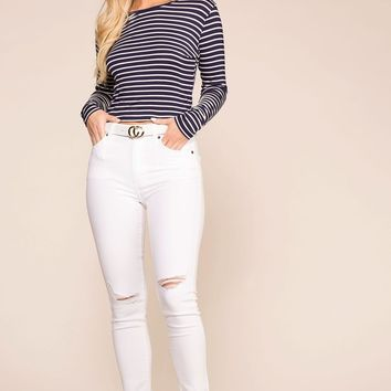Sammy White Distressed Skinny Jeans