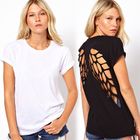 Back Hollow Angel Wings Short Sleeve T-shirt