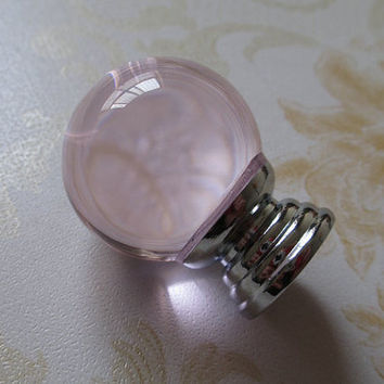 Light Pale Pink Glass Crystal Dresser Drawer Knobs Pulls Handles Shabby Chic / Modern French Country Kitchen Cabinet Handle Pull Knob