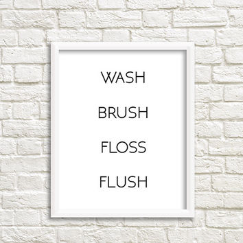Kids Bathroom Art kids bathroom decor wash brush floss flush brush floss basin wash brush floss wash brush flush wash hands sign wash sign