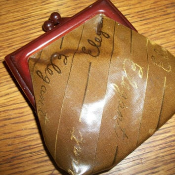 Coin Purse Vinyl Pouch Vintage 1950s Handbag Accessory Elegant Gold and Brown with Celluloid Ball Clasp