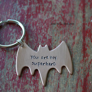 batman hand stamped superhero copper keychain