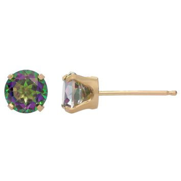 .50 cttw Round 5MM Natural Mystic Topaz 10K Yellow Gold Stud Earrings
