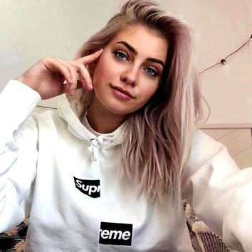 Free shipping-Supreme men's and women's loose hooded sweater white