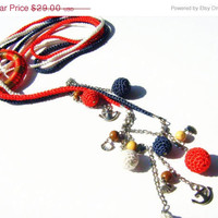 Lariat Necklace. Marine Colors (White-red-deep blue) multi strand crochet lariat necklace.