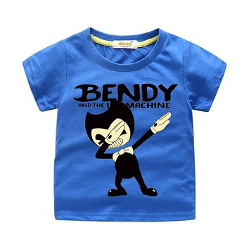 Kids Dab Style Print T-shirt Boy Cartoon Bendy T Shirt Costume Girls Tees Tops Clothing Children Summer Clothes Baby Shirt WJ150