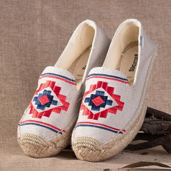 Soludos Bohemia Platform Smoking Embroidery Slipper Thick-bottomed Beige - Best Deal Online