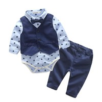 Kimocat Infant Baby Boy Gentleman Clothes For Weddings Formal Suit Vest+T-Shirt+Pant Newborn Baby Boy Clothes Set Birthday Cloth
